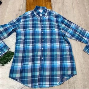 Brooks Brother Blue Plaid Career Casual Top A1070